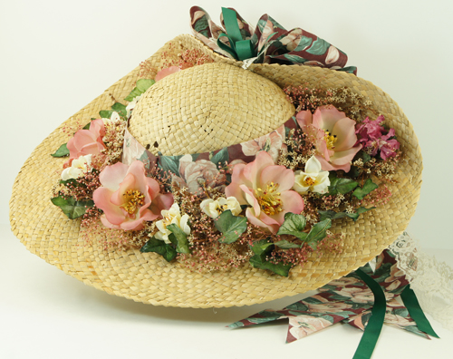 Ladies Straw Hat With Silk Flowers