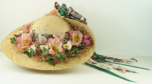 SOLD - Ladies Straw Hat with Silk Flowers fa845cf5078